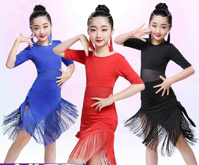 Quaste Latin Dance Kleid Für Mädchen Kinder Salsa Tango Ballsaal Tanzen Kleid Wettbewerb Kostüme Kinder Praxis Tanz Kleidung