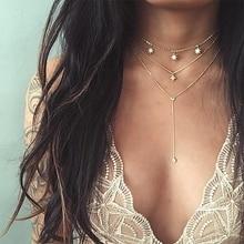 KISSWIFE Классическая Звезда квадратная подвеска-кристалл на цепочке многослойный набор золотого ожерелья Дамская мода вечерние ювелирные изделия аксессуары