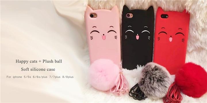 Fashion 3D Cute Silicone Rubber Cartoon Garfield Cat Phone Case For iphone  4s 5s 6s plus 7plus 8plus Capa Para Funda Back Cover - us81 e8ae16082c