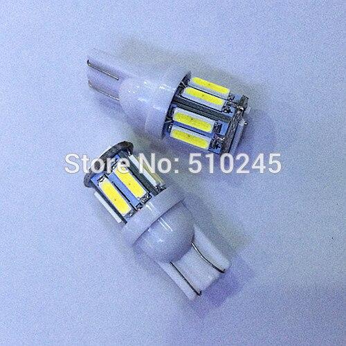 100X w5w 194 T10 10 led SMD 7014 t10 10smd Wedge Car Auto LED Light Bulb Lamp White free shipping