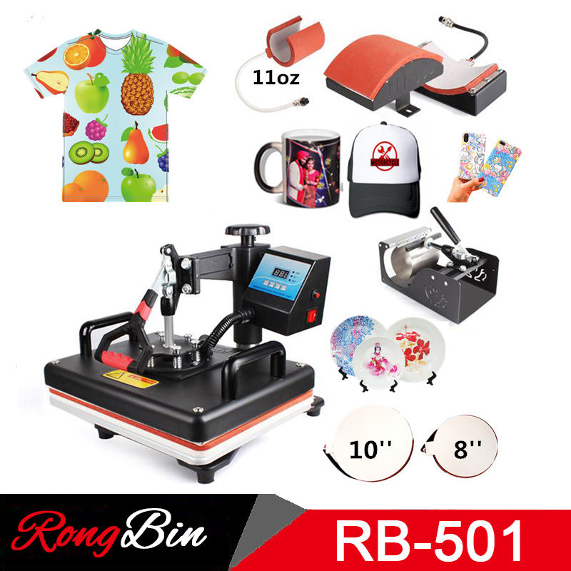 29*38CM 5 In 1 Combo Heat Press Printer Sublimation Machine Heat Press Machine For T-shirts Plates Cap Mug Phone Cover Plates