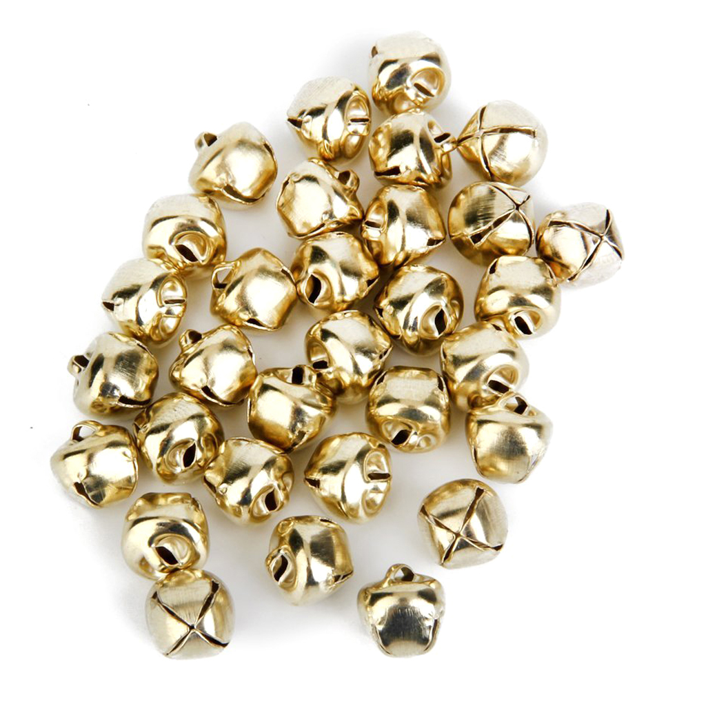 SDFC-Metal Jingle Bells for Christmas Decoration Jewellery Making Craft 10mm Pack of Approx. 100pcs Golden