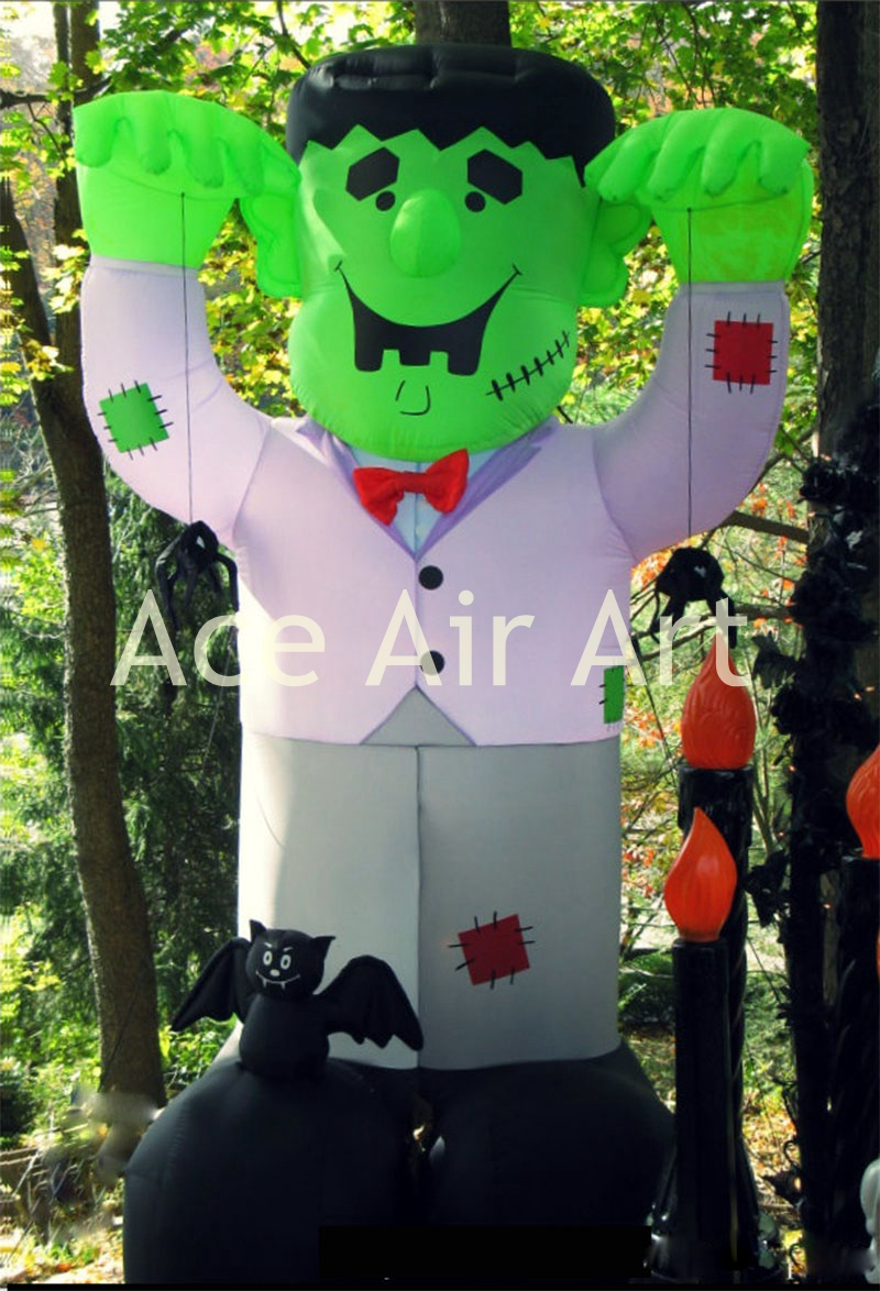 US $445 0 inflatable Halloween Street Decoration inflatable Frankenstein catch spiders with a green face spider halloween decorations spider