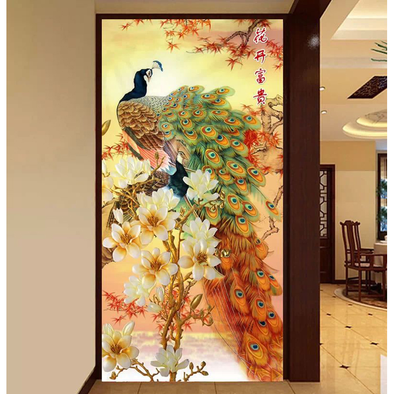 5D DIY diamond Painting Mosaic Round crystal flower peacock animal Cross Stitch Rhinestone Decor embroidery 63x120cm - Wonderful Home store