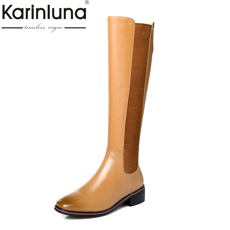 KarinLuna 2018 top quality size 33-41 brand shoes women knee high boots genuine leather fashion riding boots woman shoes karinluna 2018 top quality size 33 41 brand shoes women knee high boots genuine leather square heels riding boots woman shoes