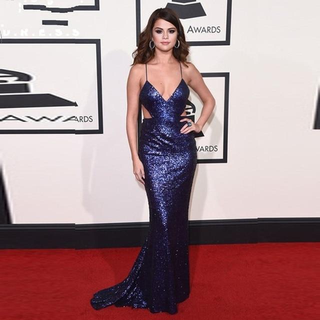 4d4722f4fc5c3 Shiny Sequined Selena Gomez Formal celebrity dresses 2017 Long ...