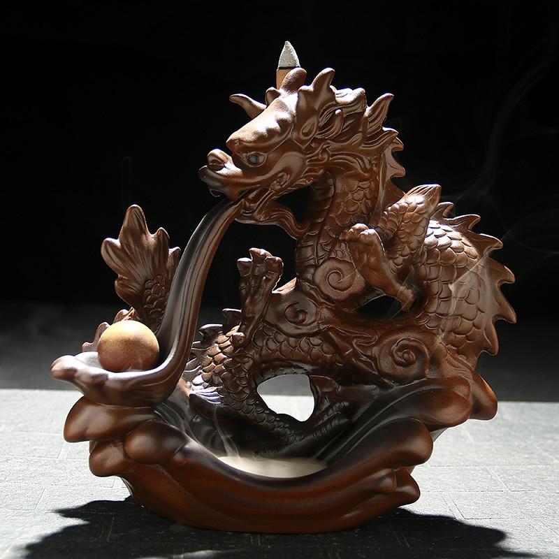 F céramique fait à la main artisanat encensoir encens thé animaux de compagnie Dragon perle ameublement ornements main Boutique décoration cône brûleur