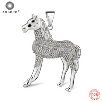 Pendants Women 925 Sterling Silver Luxury Fashion Crystal CZ Horse Necklaces Pendants Jewelry Gift For Men Unisex GND0718