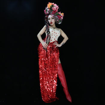 2020 Summer Women New Red Sequins Slit To Thigh Bodysuit Sexy DJ Singer Bar Dance Costume Party Show Prom One Piece Stage Wear