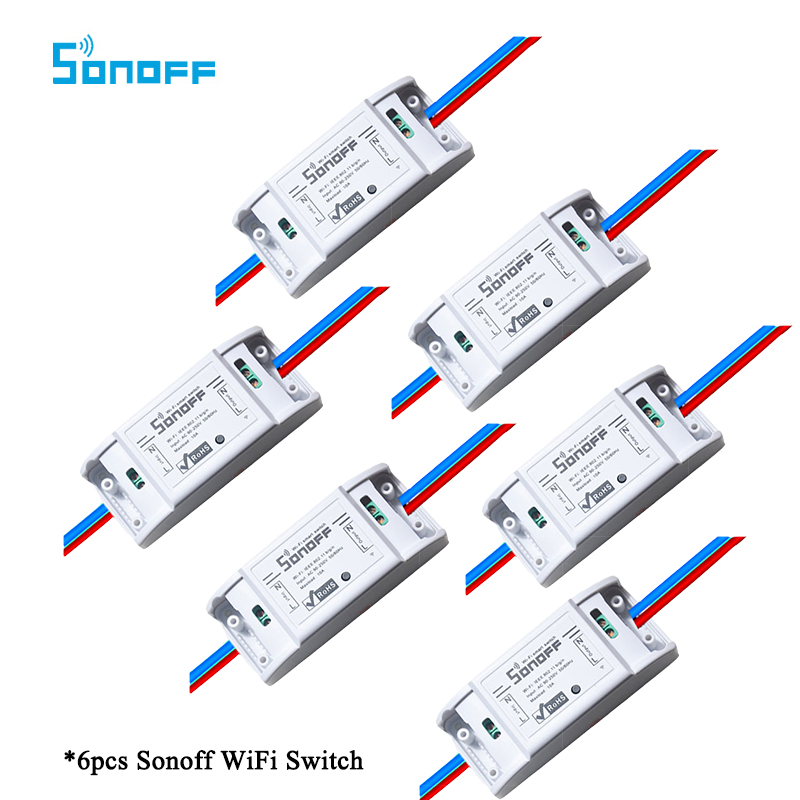 6pcs Sonoff Basic-WiFi Wireless Smart Remote ON/OFF Timing DIY Module Switch For MQTT COAP iOS Android Voice Control Smart Home sonoff wireless wifi switch universal smart home automation module timer diy wifi remote control switch on off wireless timer