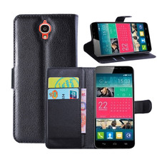 Mobile Phone Bag Cover with Card holder Leather Wallet Style Stand Case For Alcatel One Touch Idol X 6040 6040D 6040A OT6040