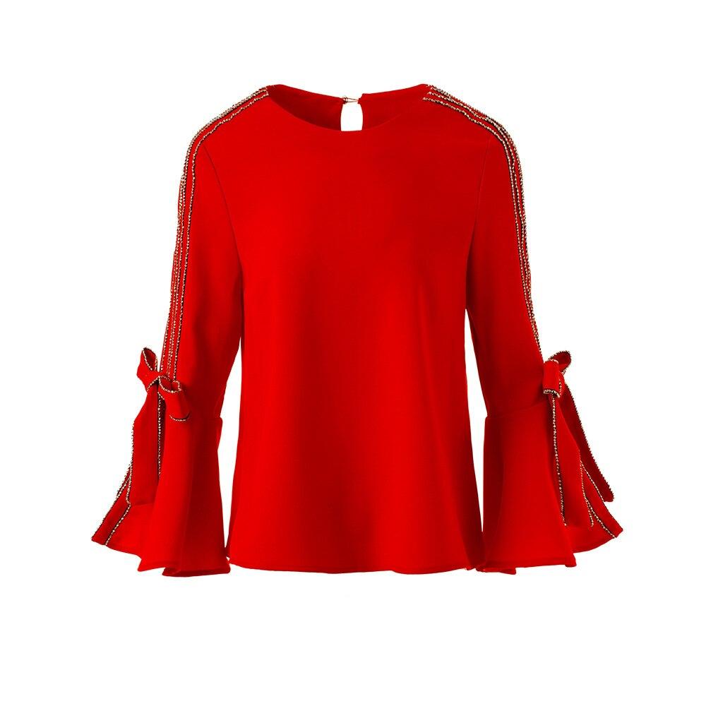 High End Kwaliteit Office Lady 2018 Lente Nieuwe vrouwen Boog Hoorn Mouw Negen Kwart Mouw Manchet Top Vrouwelijke blouse Rood Geel-in Blouses & Shirts van Dames Kleding op AliExpress - 11.11_Dubbel 11Vrijgezellendag 1