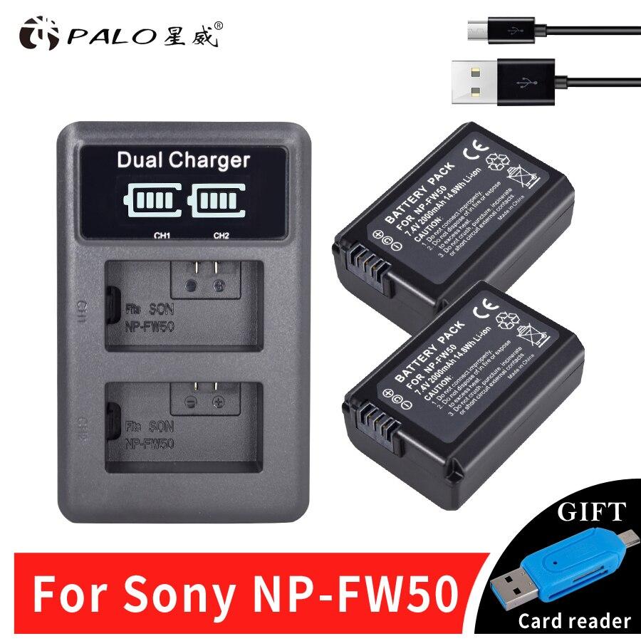 PALO 2pcs 2000mAh NP-FW50 NP FW50 Camera Battery + LCD USB Dual Charger for Sony Alpha a6500 a6300 a6000 a5000 a3000 NEX-3 a7R durapro 4pcs np f970 np f960 npf960 npf970 battery lcd fast dual charger for sony hvr hd1000 v1j ccd trv26e dcr tr8000 plm a55