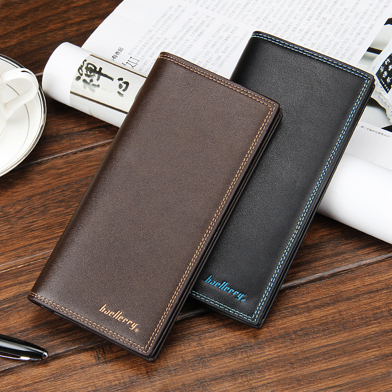 Brand Baellerry Designer Men Long Wallet PU Leather Coin Purses Male Money Phone Pocket Pochette Clutch Bag ID Card Holder Cover casual pu leather men hasp long wallet luxury money coin pochette slim portf purse card holder pocket clutch male pouch bag