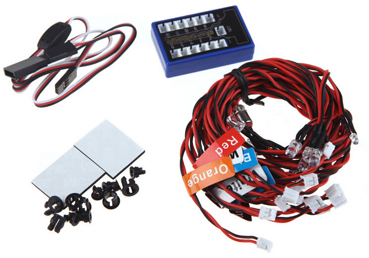 Wholesale G.T.POWER RC Car 12 LED Flashing Light System for RC Cars Smart PPM/FM/FS 2.4G Trucks 1/10 Scale free shipping