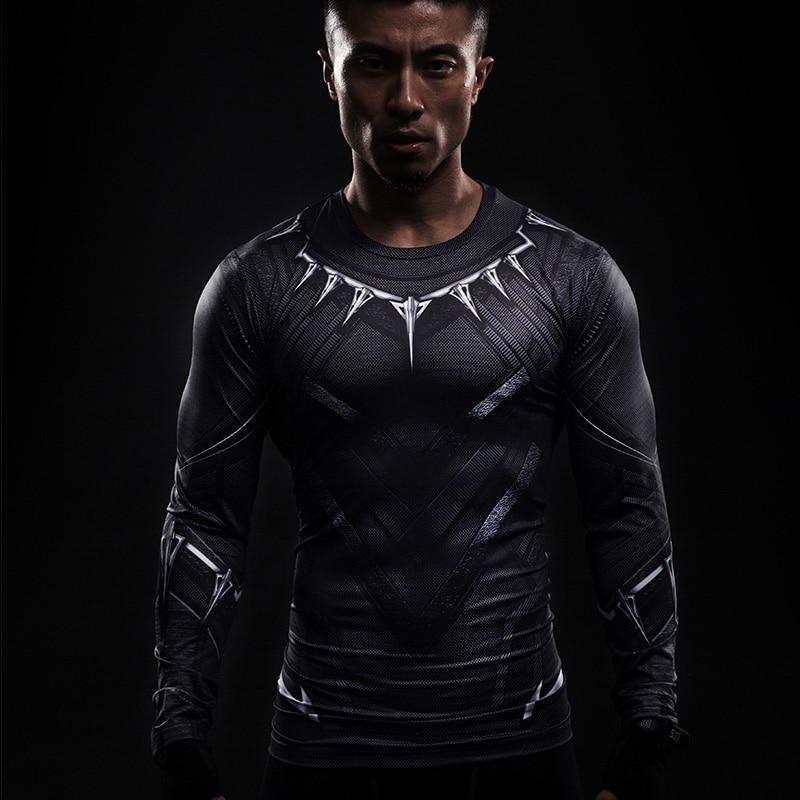 Black Panther 3D Printed T-shirts Lange mouw Captain America Cosplay Burgeroorlog tee Halloween Kostuums Compressie Heren Tops