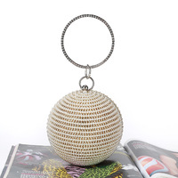 Fashion Mini Round Evening Bag Diamonds pearl Big Ring Top Handle Handbags Female 2019 Sliver Gold Party Wedding Clutch Purse