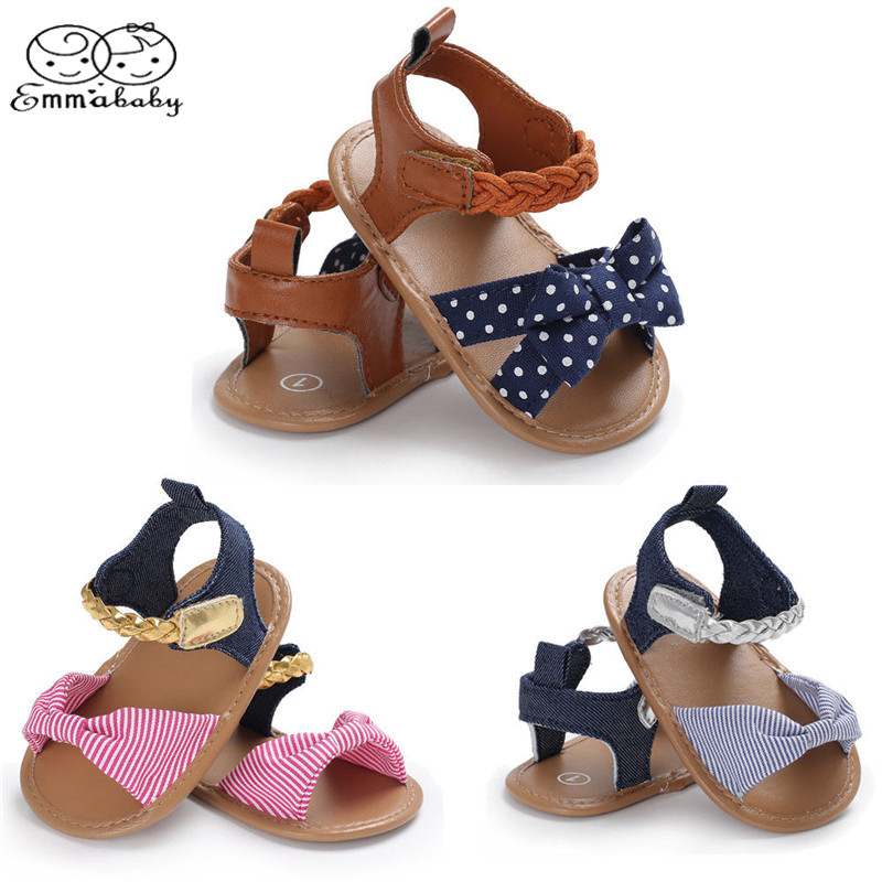 Emmababy New Toddler Infant Girl Newborn Baby Bow-Knot Sandals Summer Cloth Moccasin Shoes Prewalker Bow Casual Shoes 0-18M