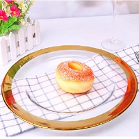 33CM European creative transparent gold edge plate glass fruit plate daily merchandise
