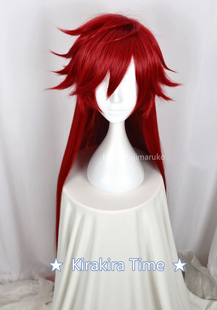 Image 3 - Kuroshitsuji Black Butler Grell Sutcliff Red Long Straight Heat Resistant Hair Cosplay Costume Wig + Skull Chain GlassesAnime Costumes   -