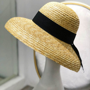 Image 2 - Wide Brim Women Sun Hat Wheat Straw Summer Beach Hat Elegant Cap UV Protection Black long Ribbon Bow Derby Travel Hats