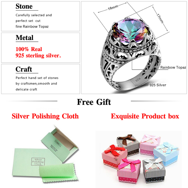 Szjinao Sale Vintage Jewelry Round Topaz Cubot Rainbow 925 Sterling Silver Crystal Big Rings for Women and Men Gifts