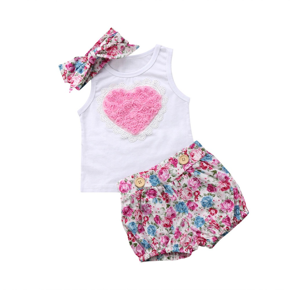 Infant Baby Girls Clothing Sets Big Love Sleeveless White Tops Floral Print Shorts Headband 3pcs Bebe Girls Clothes Suits grey lace details floral print v neck sleeveless pajamas sets