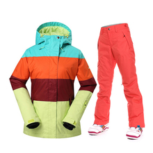 Gsou Snow Winter Snowboard Suits Women Ski Jacket and Pants Outdoor Patchwork Sports Jackets Waterproof 10K Female Skiing Sets