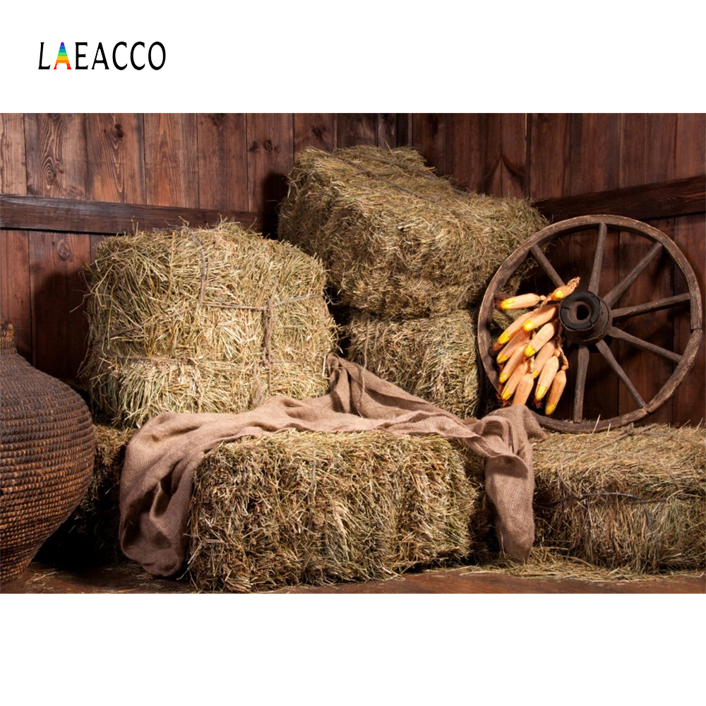 Laeacco Hay Bale Wooden House Wheel Portrait Scene Photographic Backgrounds Customized Photography Backdrops For Photo Studio