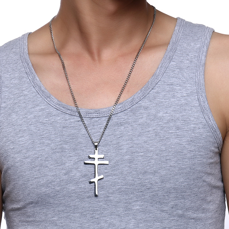 """Cross Pendant Necklace Stainless Steel Unisex Crucifix Men Women With Chain 22/"""""""