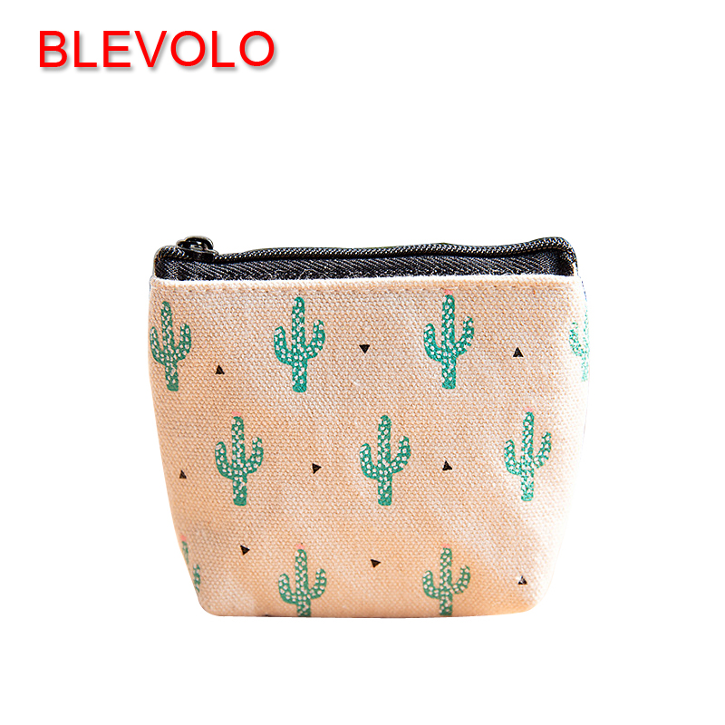 BLEVOLO Creative Cute Unisex Wallets Cactus Canvas Coin Purses Girls Boys Zipper Small Wallet Mini Coin Bags Key Pouch Purses