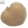 Dazzling Women Golden Heart Evening Bag Shoulder Bags Crystal Box Clutch Purses and Handbags Bridal Wedding Party Metal Clutches