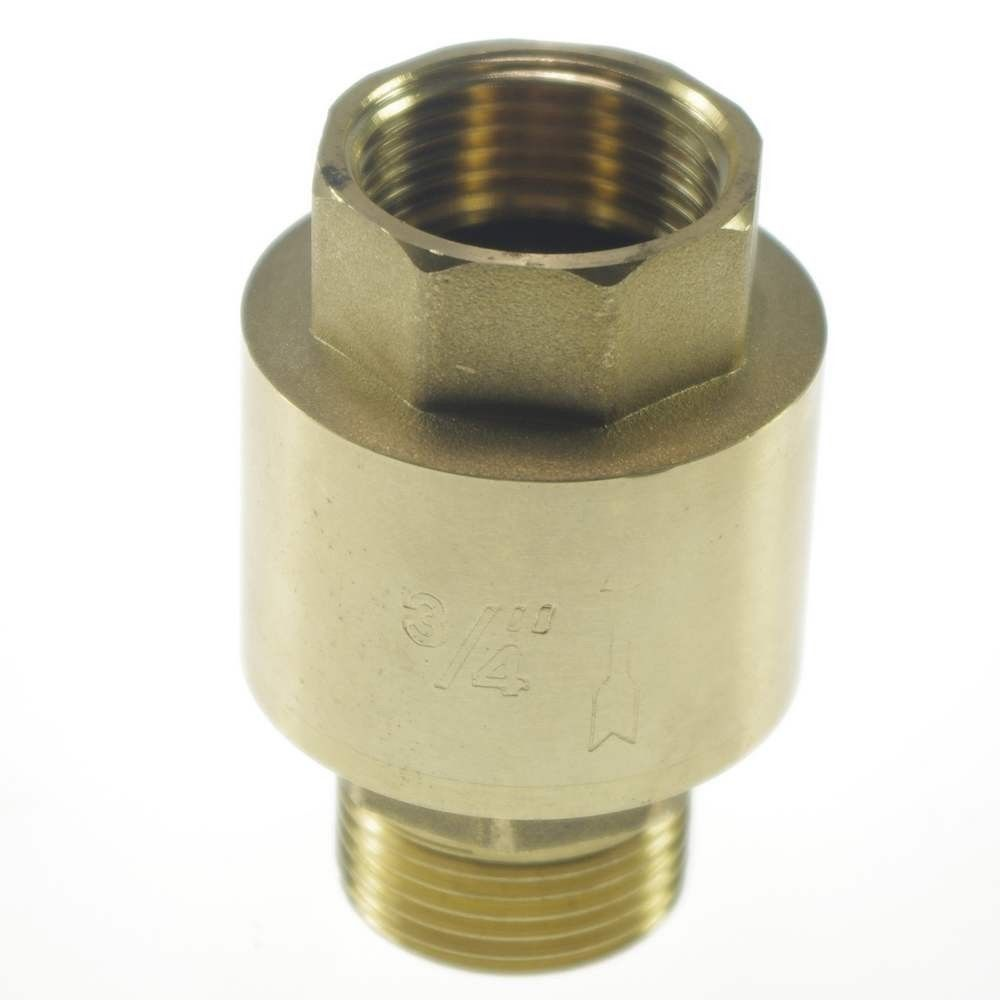 1PCS Brass 3/4 Female Male BSPP Thread In-Line Check Valve Spring Vertical vertical type 1 2 pt female threaded brass tone in line check valve