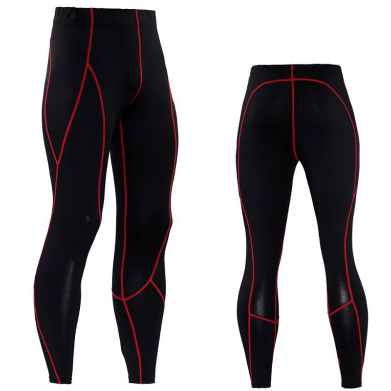 Brand Tights Men Long Trousers Pants Winter Fitness Compression Sexy Slim Clothing Line Red S-3XL
