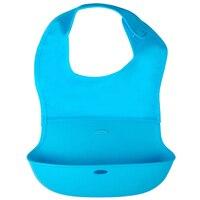 Crtartu 1 Piece Blue Nylon Cloth Silicone Large Baby Bib Waterproof Rice Dumplings 40 27 14