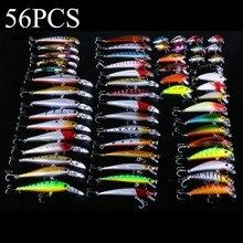 56 قطعة مجموعة صيد السمك مختلطة البلمة مجموعة إغراء الطعم cranbait معالجة باس الصيد Wobblers مناسبة لأنواع مختلفة من الأسماك