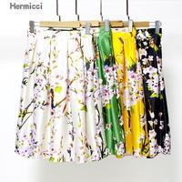 Hermicci High Waisted Skirts Womens Black Knee Length Bottoms Pleated Skirt Saia Preta Flower Print Skater
