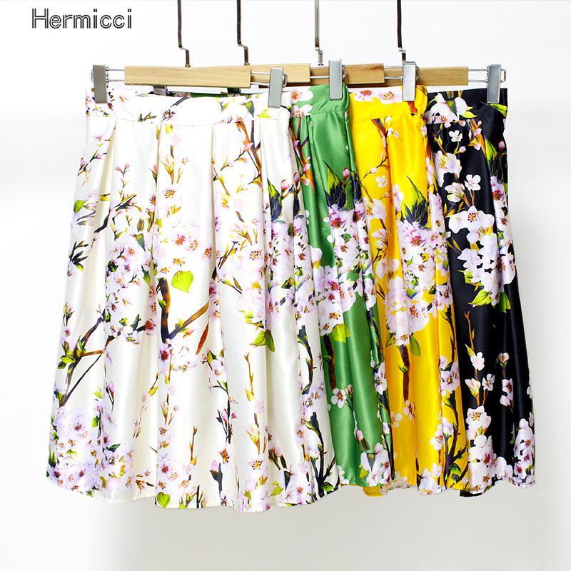 Hermicci High Waisted Skirts Womens Black Knee Length Bottoms Pleated Skirt Saia Preta Flower Print Skater Midi Skirt 2017