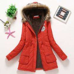 Płaszcz kobiety gruby płaszcz zimowy ciepłe z kapturem kieszenie Slim Faux futro Parka kurtka kobiet 5