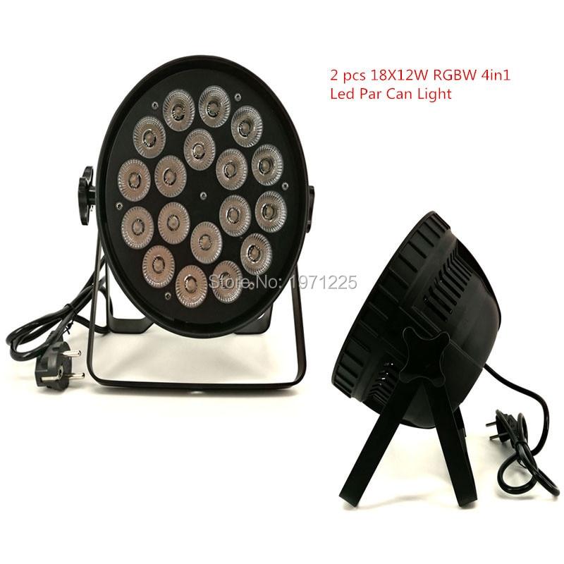 Фотография (2pcs) Fast shipping 18x12W Quad Led Par Can DMX512 Wash dj stage light disco party light Dj Lighting