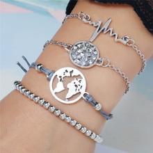 New Femme Fashion Silver Elegant Bangle 4pcs/Set Link Shape Trendy Chain Open Bracelets Wholesale For Women 2019 Gift Jewelry