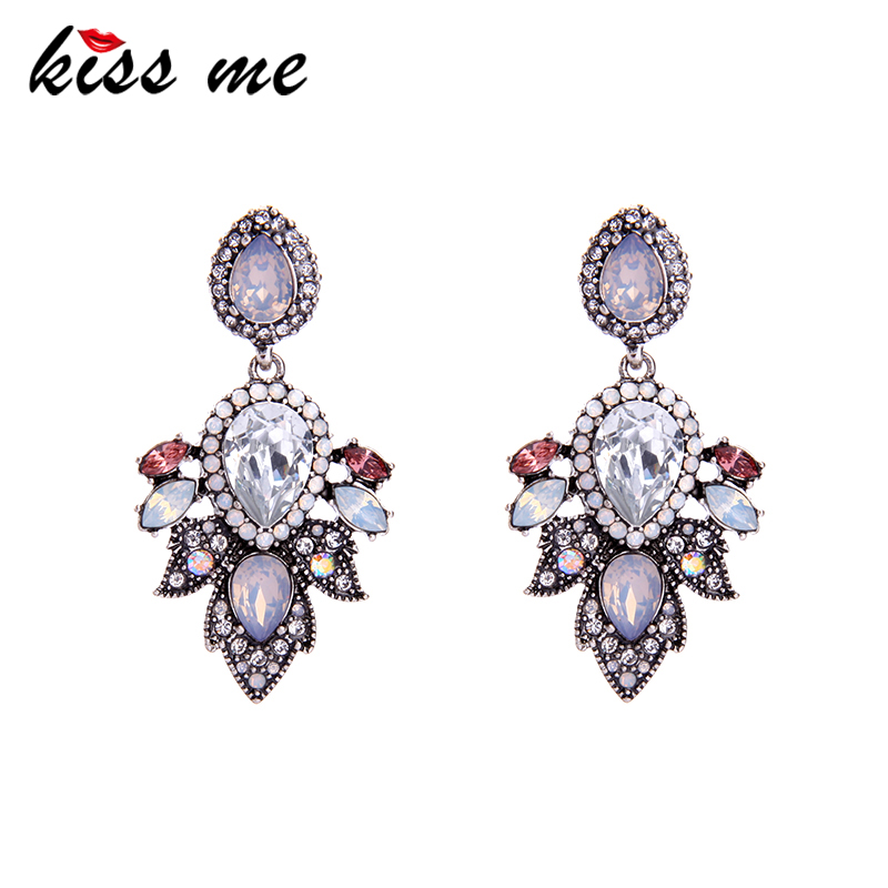 KISS ME Acrylic Crystal Water Drop Wedding Earrings 2017 Hanging Women Drop Earrings Imitation Jewelry contrast drop earrings