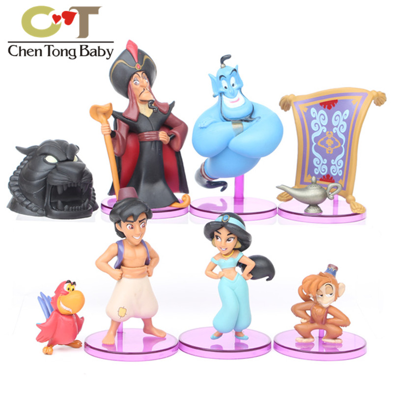 8pcs/set Aladdins lamp Flying magic grille jasmine princess PVC Action Figure Model Toys Dolls 2-10cm with retail box WJ02