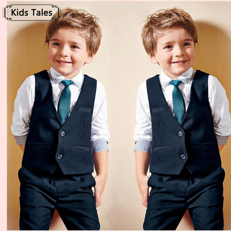 ST147 2017 new boys gentleman suit shirt + vest + pants + tie set.boy fashion suit for children kids clothes clothing set retail