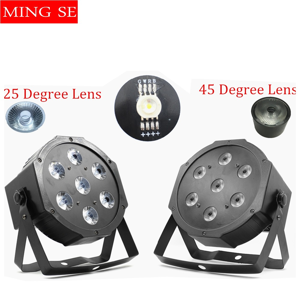 Fast shipping 7x12w led par lights 25/45 degree lens RGBW 4in1 flat par led dmx512 with 4/8 channel wall wash Mini Led Par Light