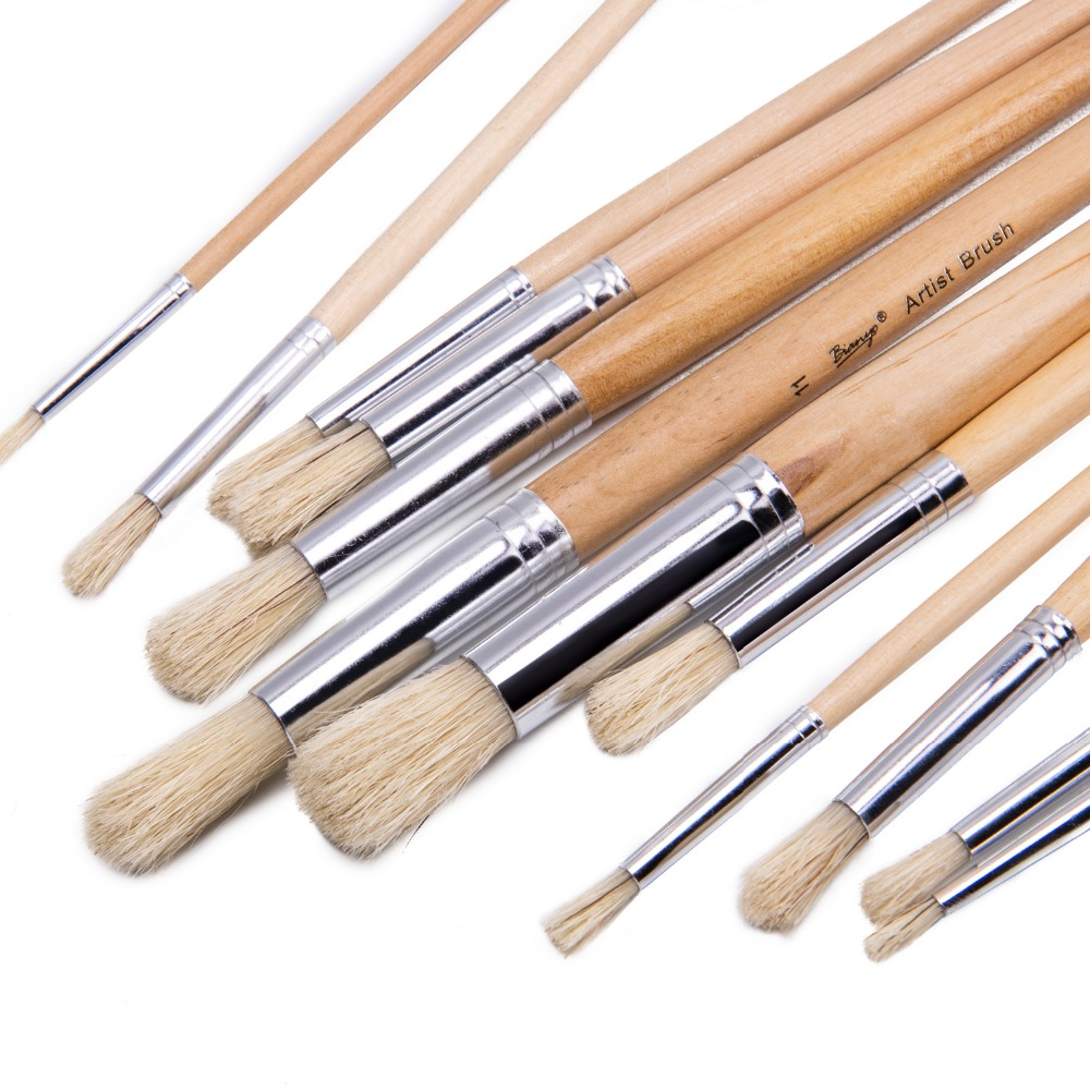 12Pcs Round Head Bristle Hair Paint Brush Wood Handle Oil Acrylic Painting Brush For Artist Painting Brushes Art Supplies