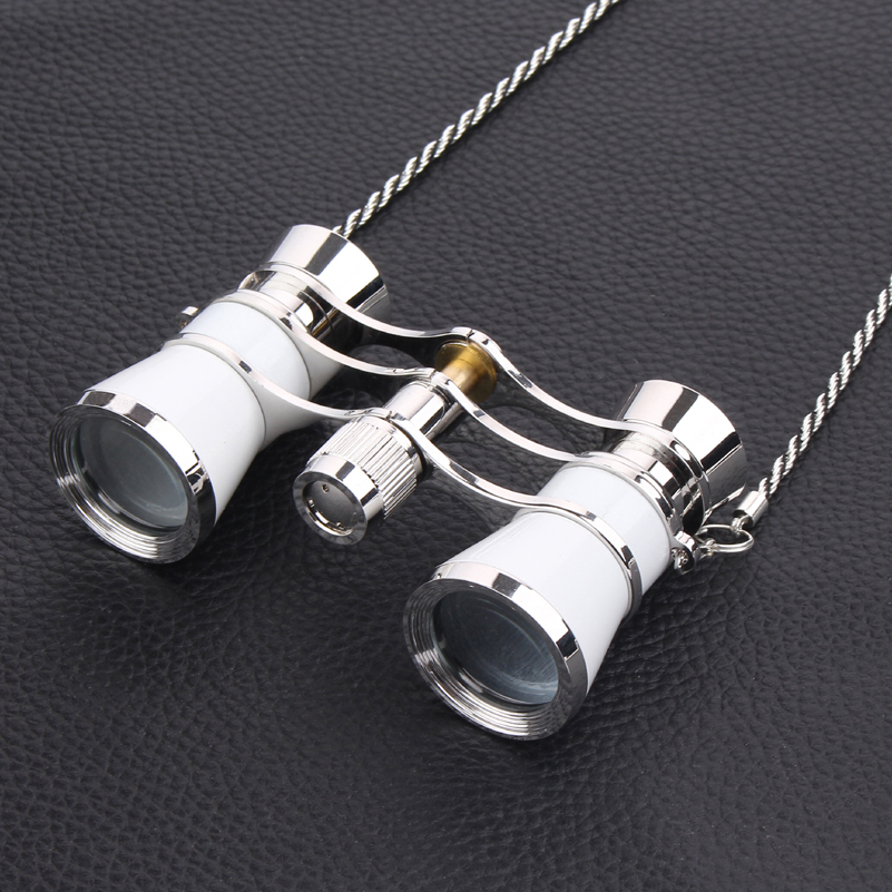 3X25 exquisite opera glasses theater glasses lady gift opera binocular with chain with handle + red gift box