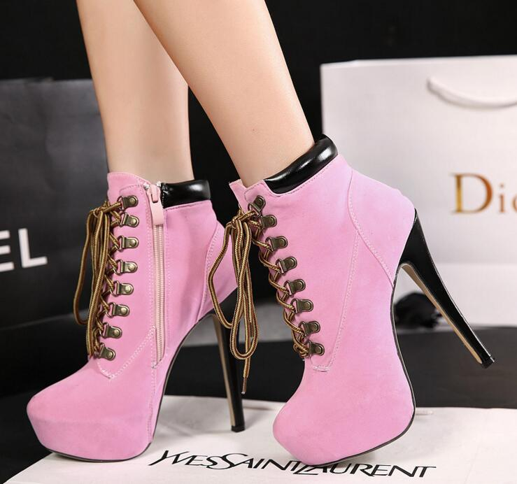 Calzado Botas Mujer brown De Talón Zapatos Alto Las Plataforma Caliente Mujeres Tobillo black Otoño Invierno Moda Nuevo Red pink 1FwPq