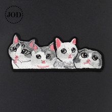 13*5.5cm chat fer sur patchs brodés pour vêtements dessin animé bricolage vêtements Patch appliques couture Applications Badges autocollants JOD(China)