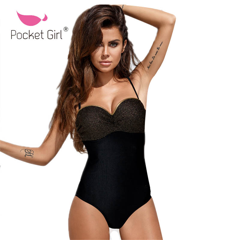 shop best sellers thoughts on shop for original US $11.88 15% OFF|Pocket Girl 2019 Sexy Black Women Swimwear Paded One  Piece Swimsuit Female Bather Bathing Suit Swim Lady Female Push Up  Monokini-in ...